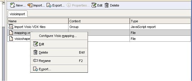 how to change import mapping for Microsoft Visio in ARIS