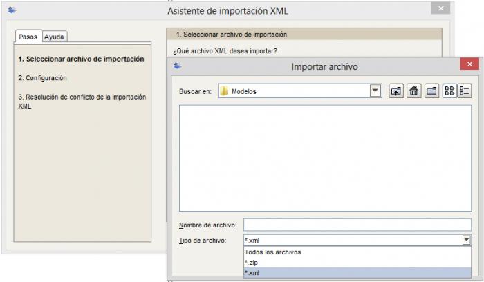 Asistente de importación XML