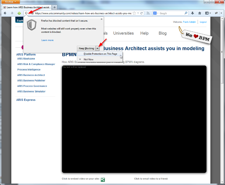 Unblock unsafe content in Firefox 23