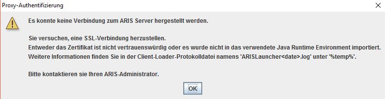 ARIS10 Client SSL Cert error for particular tenants | ARIS BPM Community