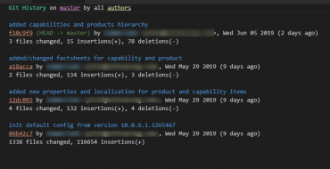 Small History  of git commits with description from Visual Studio Code  with GitHD extension