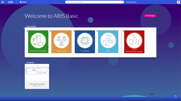 Welcome to ARIS Basic home screen
